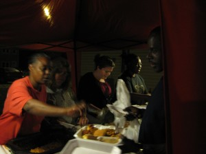 Melissa Wilson serving on the food line.