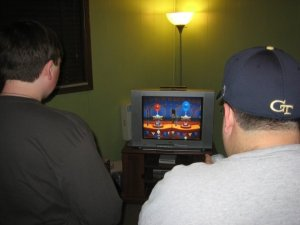 Jake and Gary playing Wii Carnival